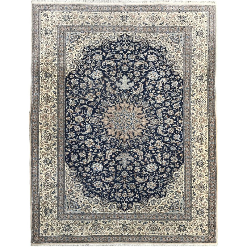 Vintage Persian carpet in wool and silk