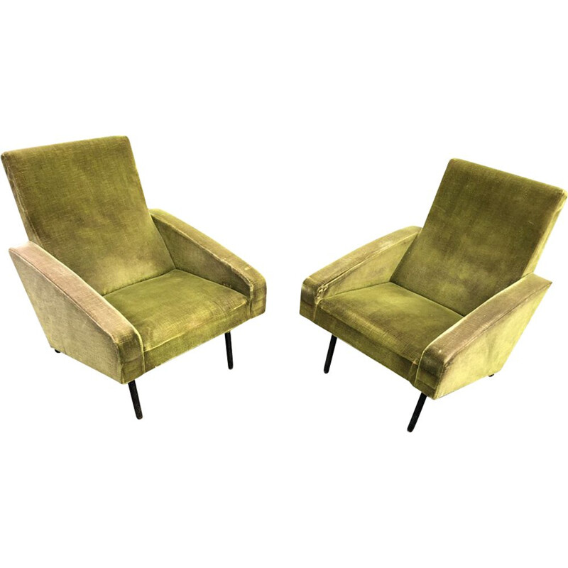 Pair of green velvet chairs by ARP