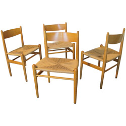 Set of 4 CH36 dining chairs in wood and woven rope, Hans WEGNER - 1960s