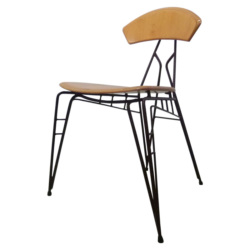 Industrial dining chair in laminated wood and steel, Jan STIGT - 1990s