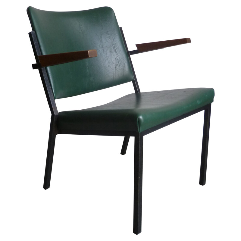 Vintage armchair in green leatherette, steel and wood, W.H. GISPEN - 1960s