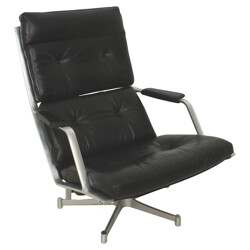FK85 lounge chair in black leather and aluminum, Preben FABRICIUS & Jorgen KASTHOLM - 1960s