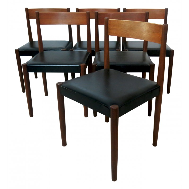 Set Of 6 Dining Chairs In Teak And Black Vinyle Poul Volther 1960s