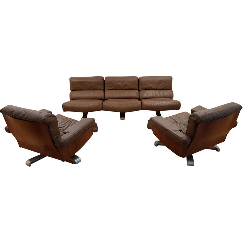Living room set in rosewood and leather by Tito Agnoli