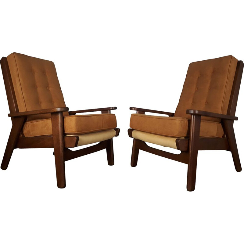 "Set of 2 vintage armchairs ""FS108"" by Pierre Guariche"