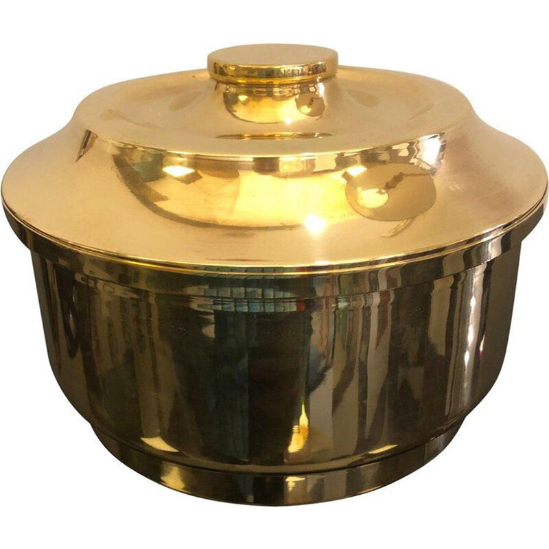 Vintage Italian round ice bucket in brass