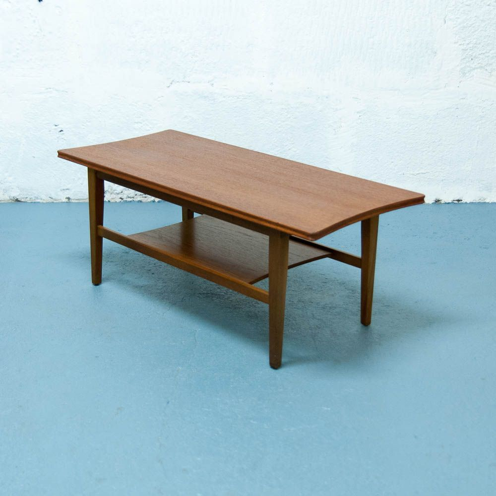 Teak Burger Coffee Table: Vintage Scandinavian Coffee Table In Teak