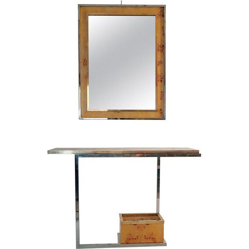 Vintage console and mirror in burl wood, chrome and brass