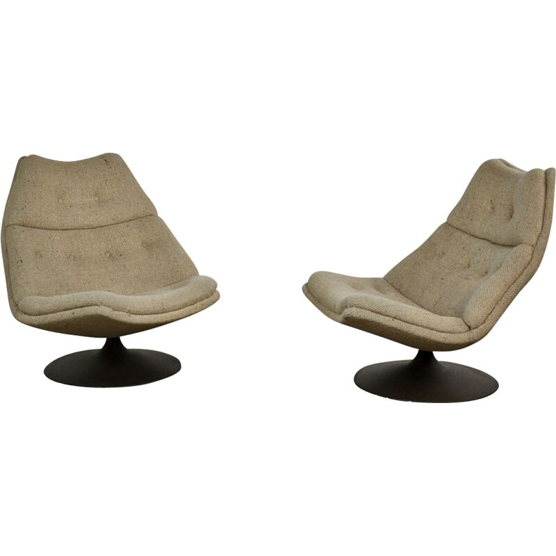 "Set of 2 vintage lounge chairs ""F590"" by Geoffrey Harcourt for Artifort"