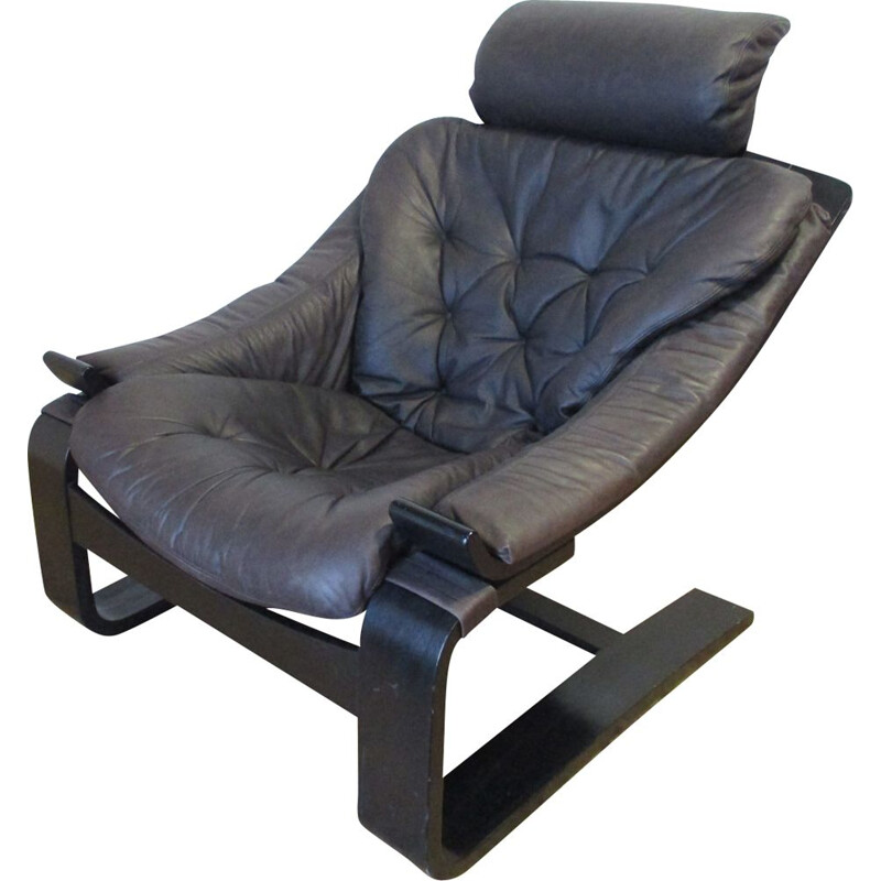 Vintage Swedish armchair in leather by Ake Fribyter for Nelo Mobel