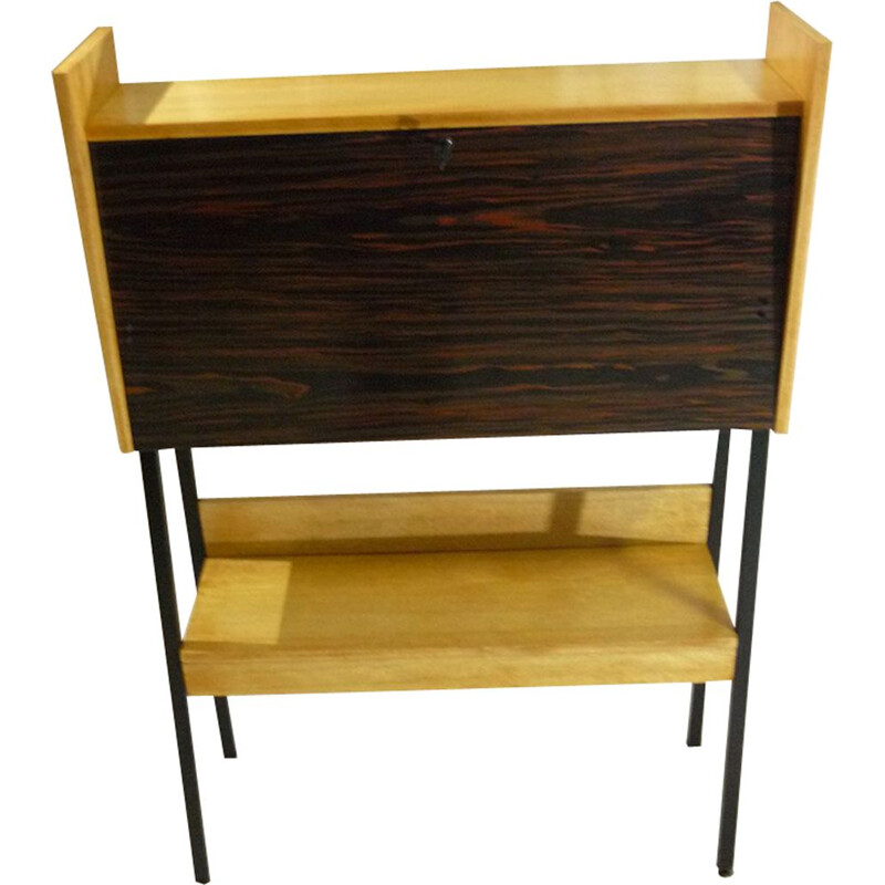 Vintage Belgian secretary in wood and metal