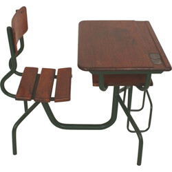 Industrial wooden child desk and chair unit - 1950s