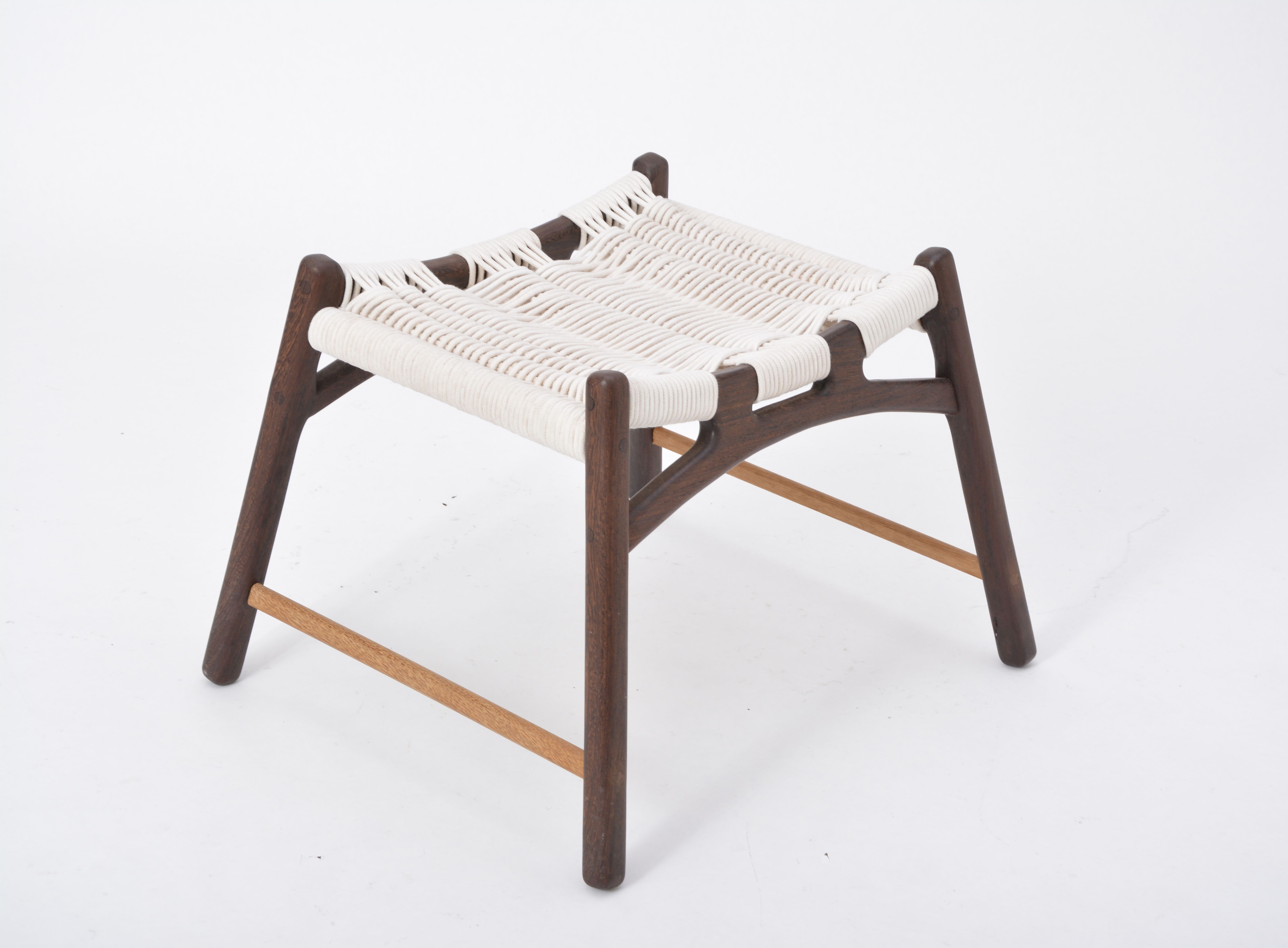 Vintage White Wooden Stool With Woven Seat By Martin GODSK