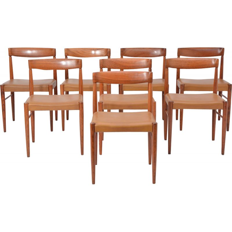 Set of 8 vintage rosewood dining chairs by H.W. Klein for Bramin