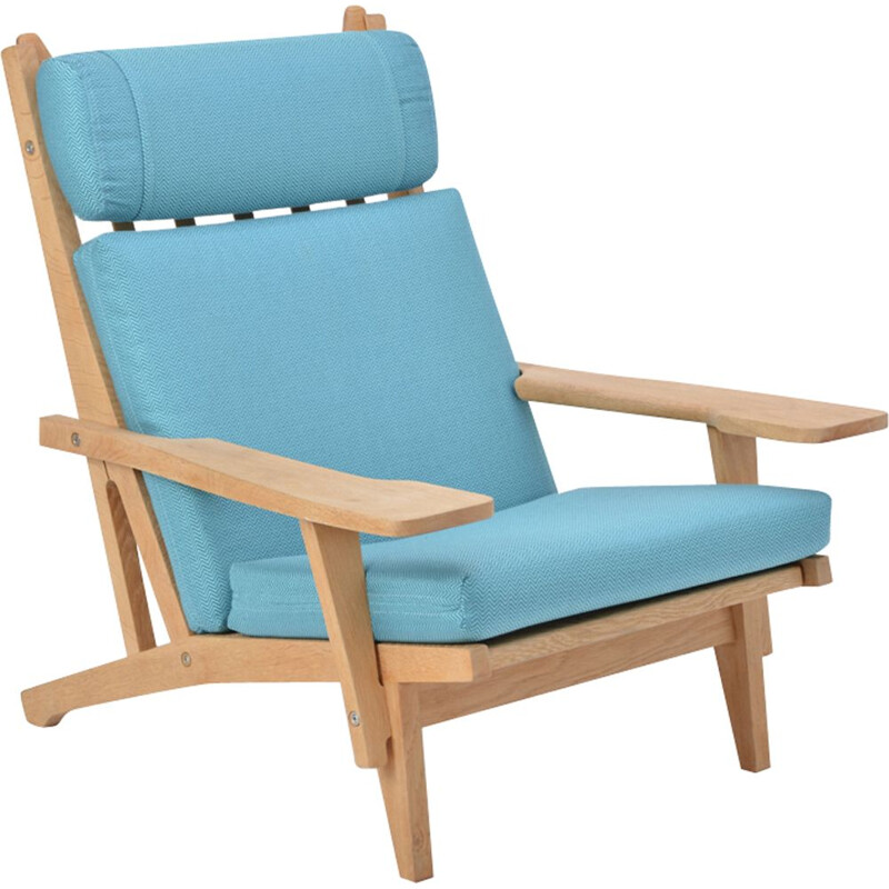 "Vintage blue lounge chair ""GE 375"" by Hans J. Wegner for Getama"