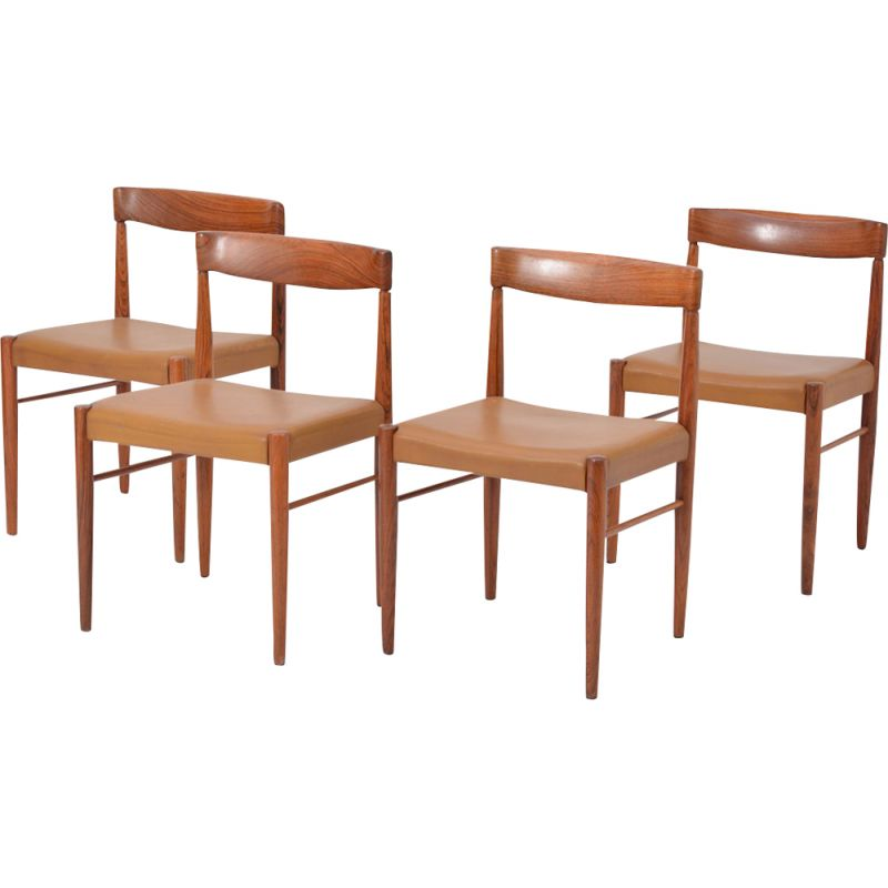 Set of 4 vintage rosewood dining chairs by H.W. Klein for Bramin