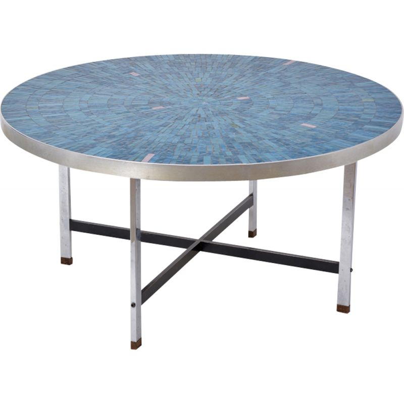 Vintage blue German mosaic coffee table by Berthold Müller-Oerlinghausen