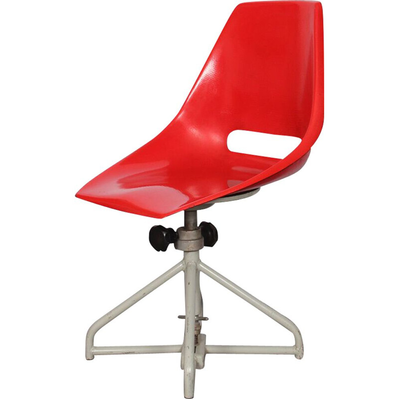 Vintage red chair by Miroslav Navratil for Vertex