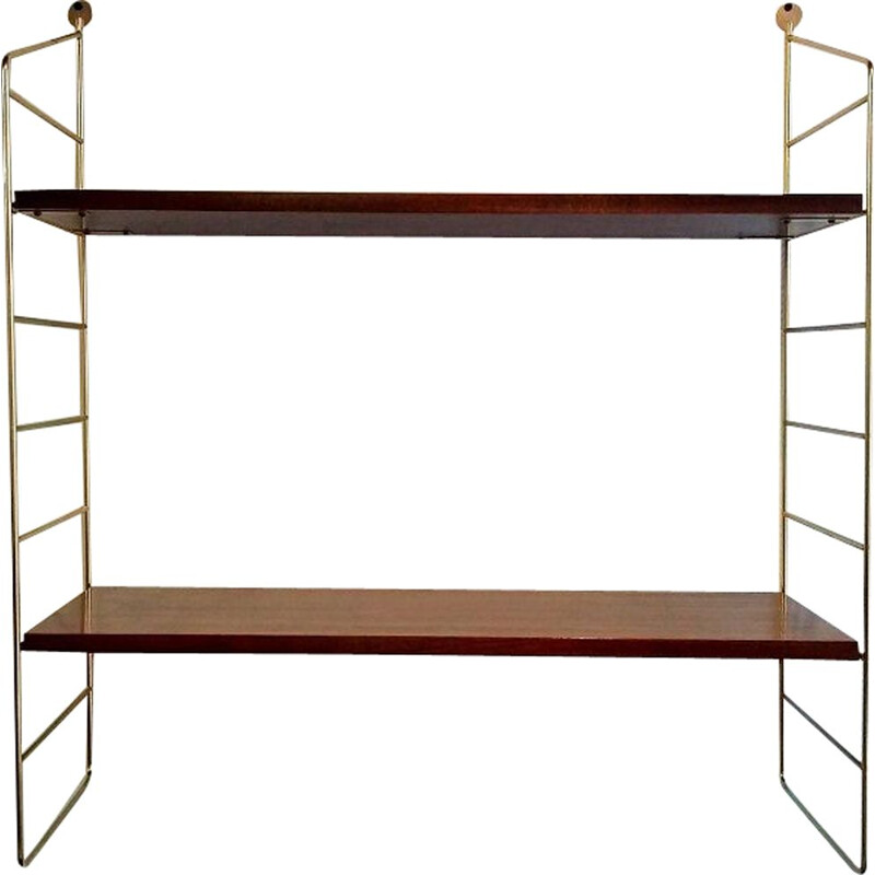 Vintage wall shelf in wood and brass