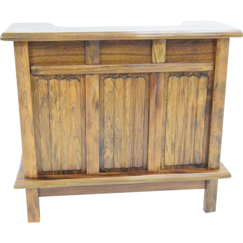 Vintage French bar in solid elm wood
