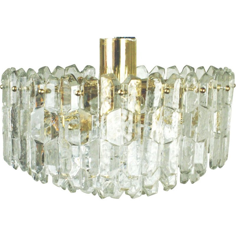 Vintage Austrian chandelier in crystal and brass by j.T. Kalmar