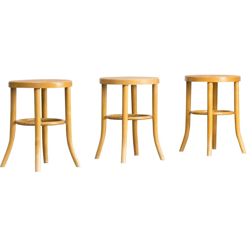 Set of 3 stools in maplewood by Thonet