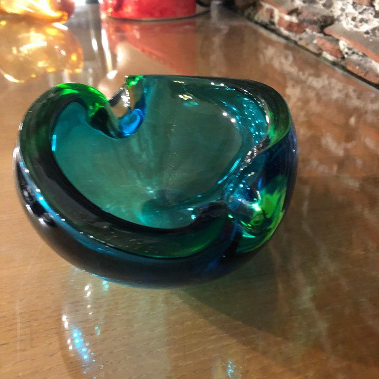 Vintage Italian Green And Blue Murano Glass Ashtray By