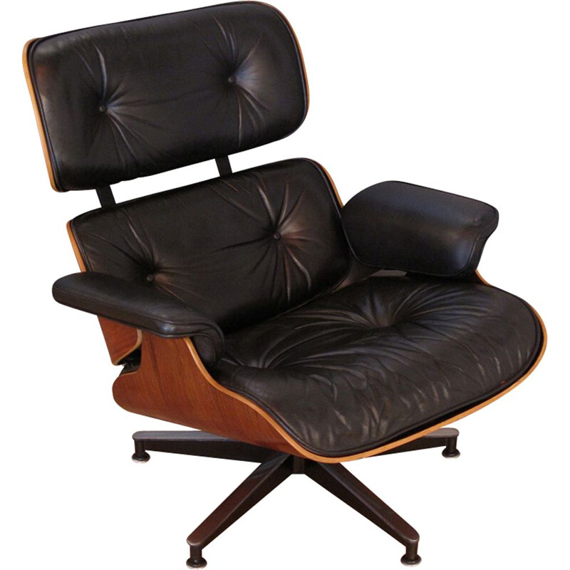 Vintage armchair in black leather and rosewood by Eames