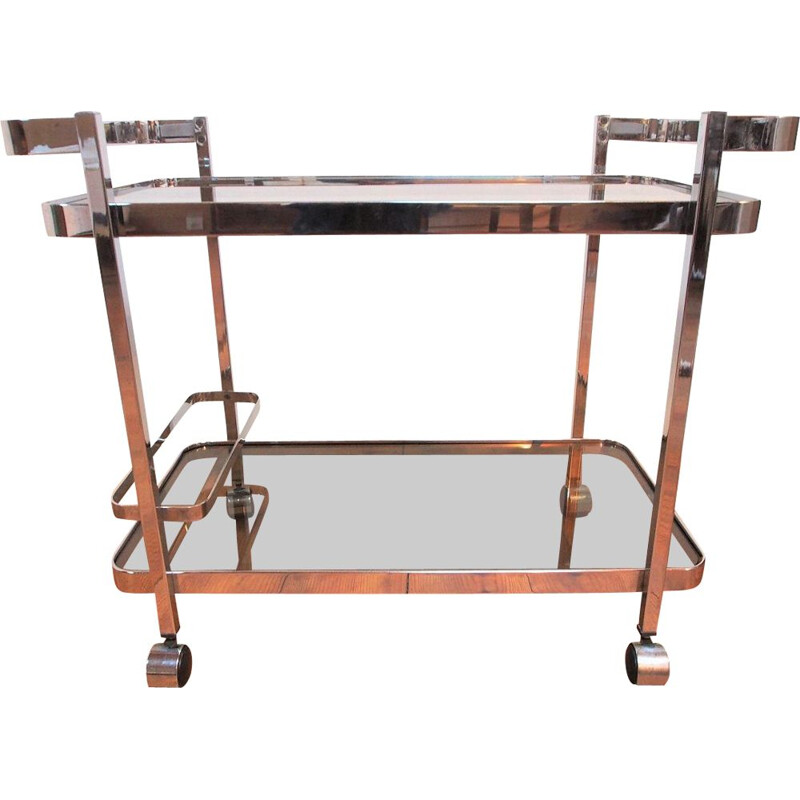 Vintage chromed metal and smoked glass trolley