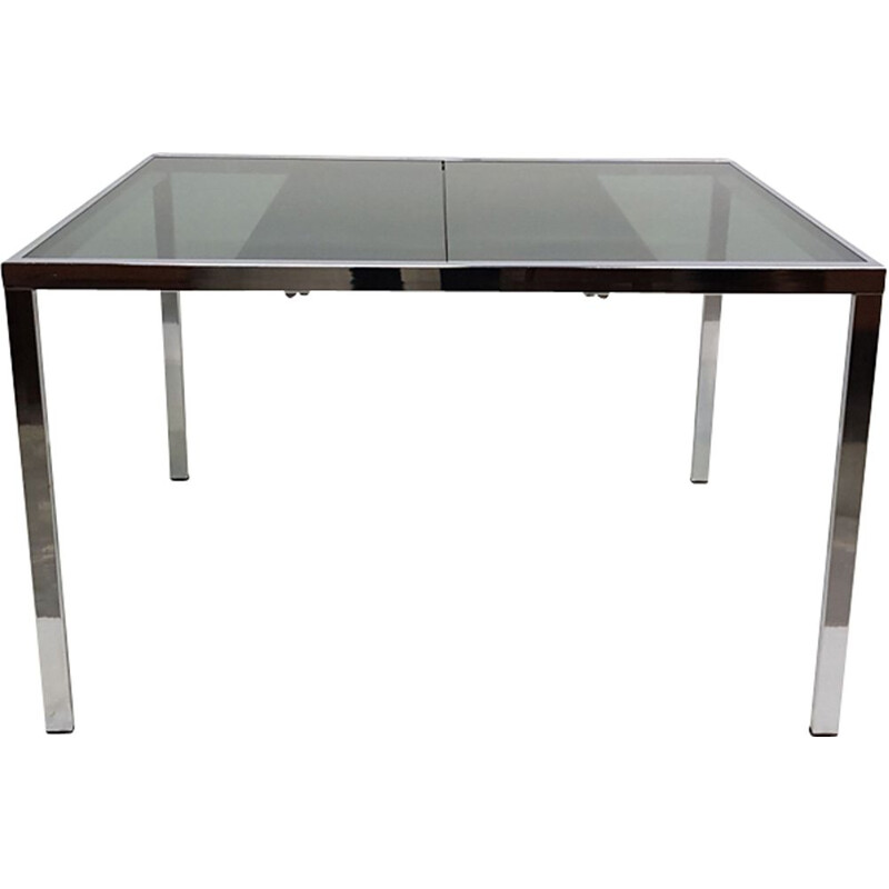 Vintage extendable dining table in chrome by Milo Baughman