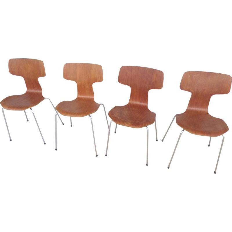 "Set of 4 vintage chairs ""3103"" by Arne Jacobsen for Fritz Hansen"