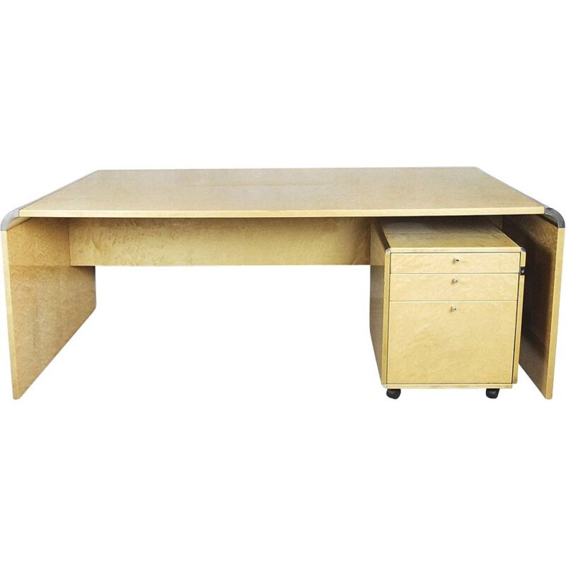 Vintage Italian desk in maple wood by Giovanni Offredi for Saporiti