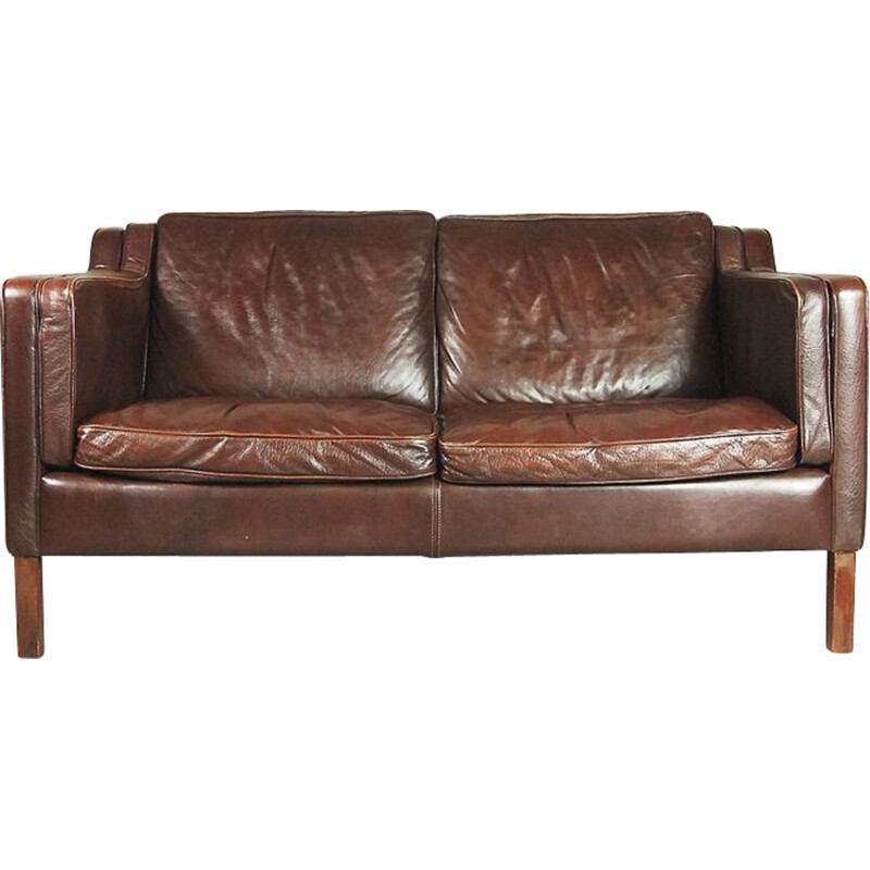 Vintage 2-seater sofa in brown leather
