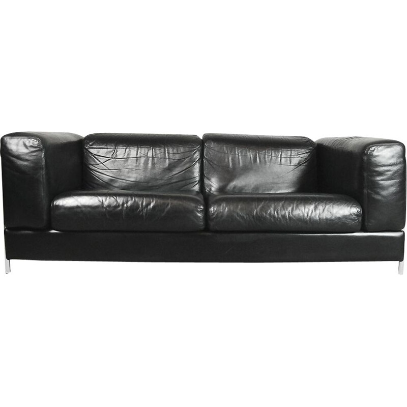 Vintage 2-seater sofa in leather by Pethrus Lindlöf for Lindlöfs Möbler
