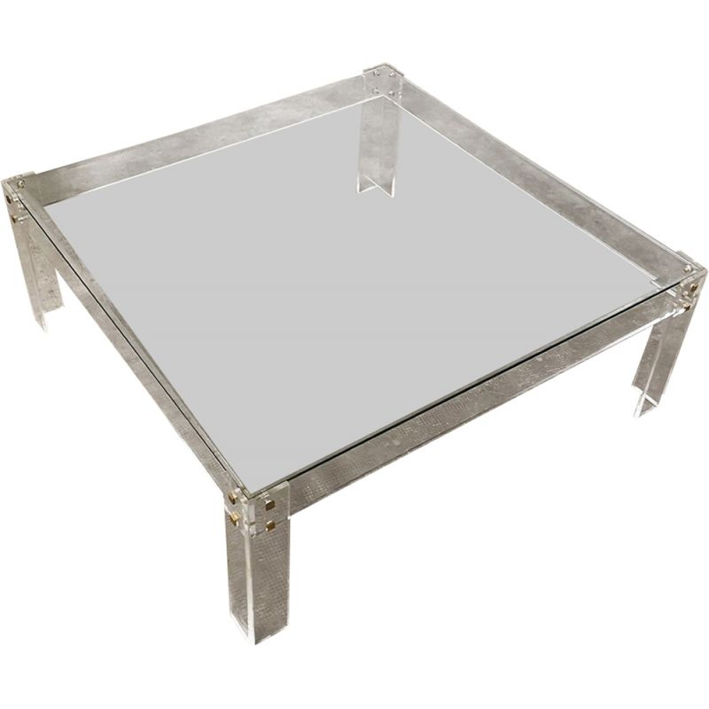 Vintage large coffee table in acrylic glass and brass