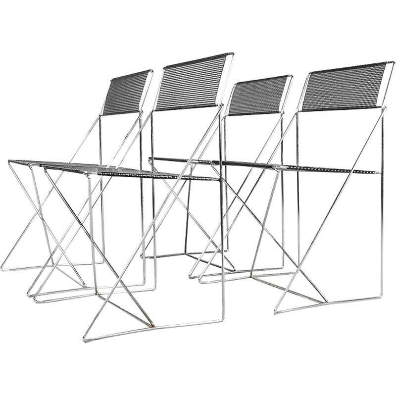 "Set of 4 vintage chairs ""X-Line"" in metal by Niels Jørgen Haugesen for Hybodan"