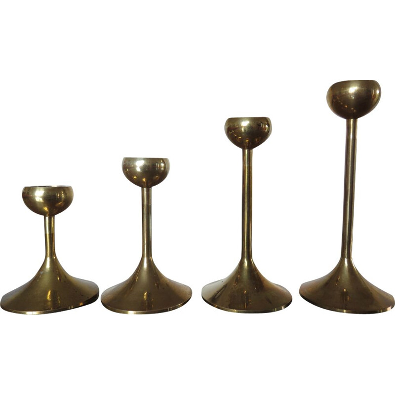 Suite of 4 vintage scandinavian candlesticks in brass 1970