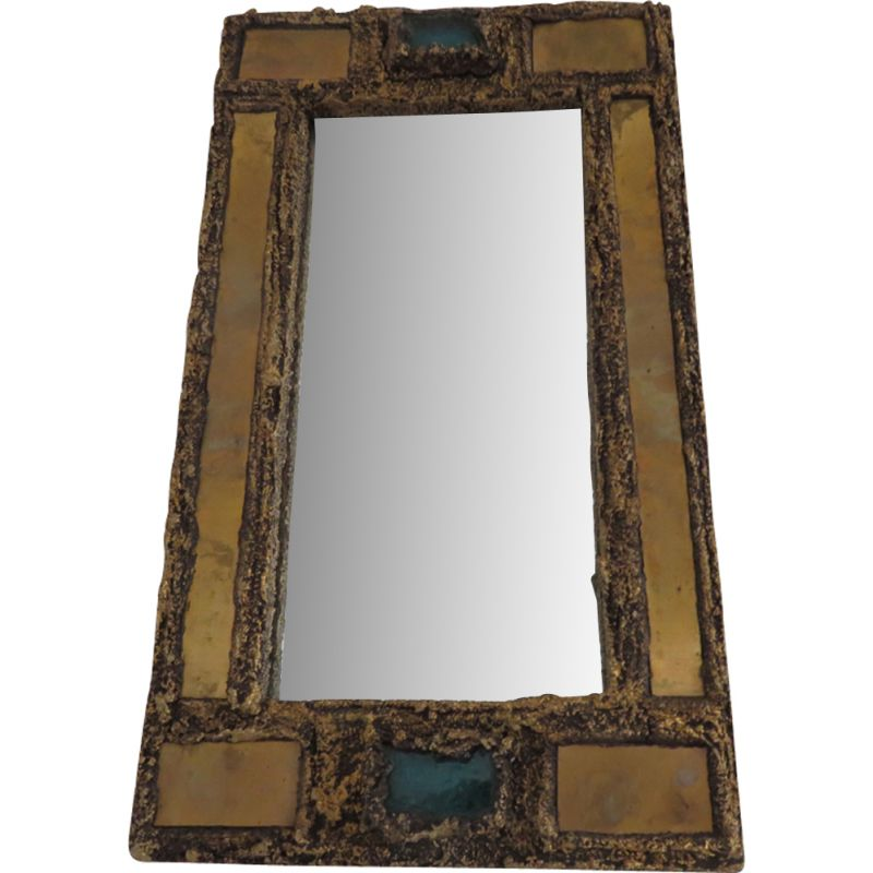French vintage brutalist mirror in resin and brass 1960