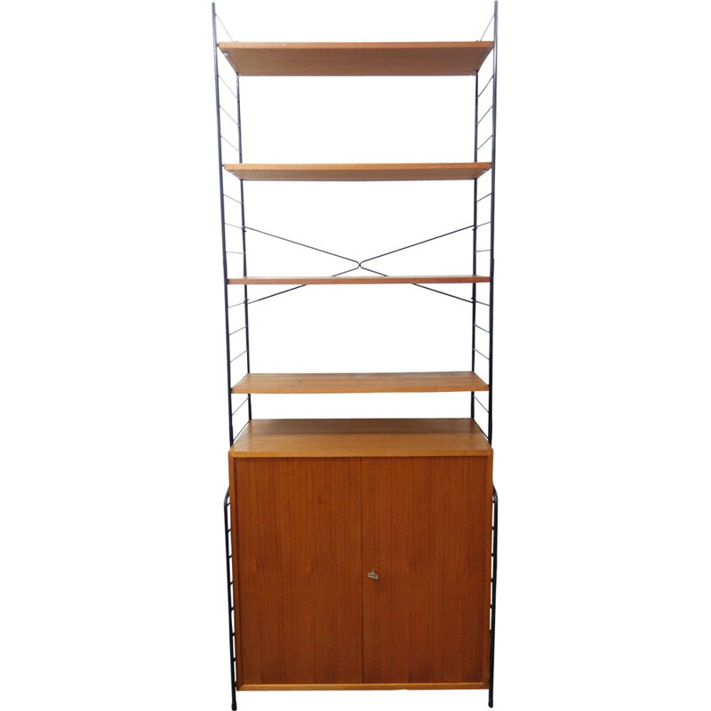 Vintage wall unit in wood and metal from Germany 1960