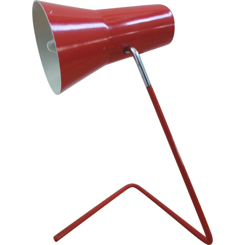 Vintage red Drupol lamp for Praha in red metal and aluminium 1960
