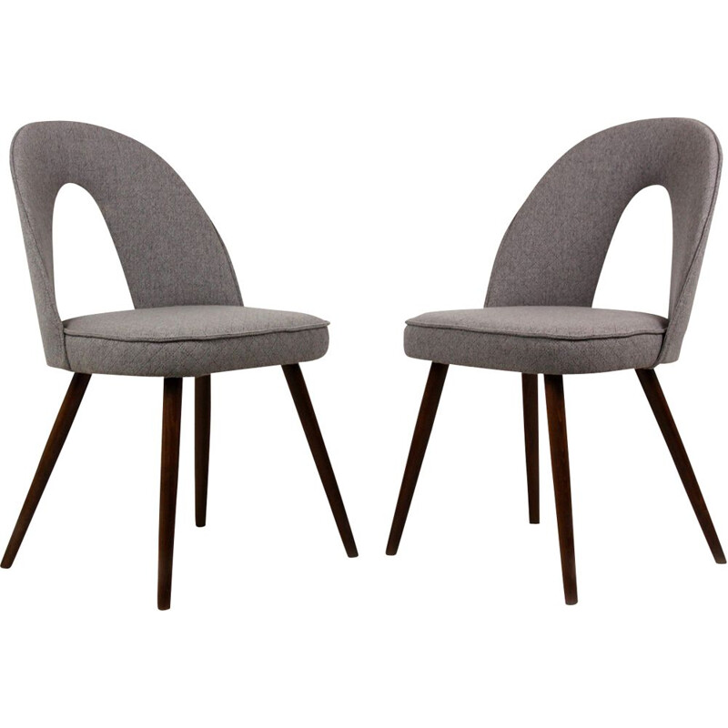 Set of 2 vintage chairs for Tatra in grey fabric and wood 1960
