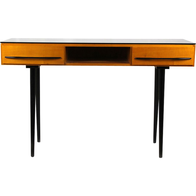 Vintage desk for UP Bučovice in wood and glass 1960s