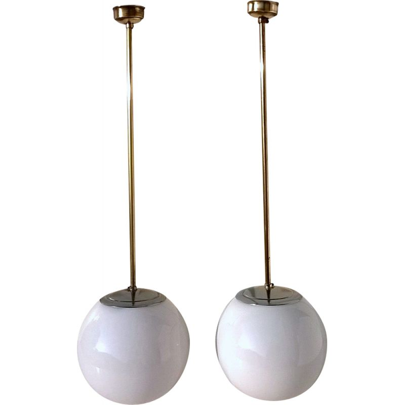Pair of white pendant lamps in opaline