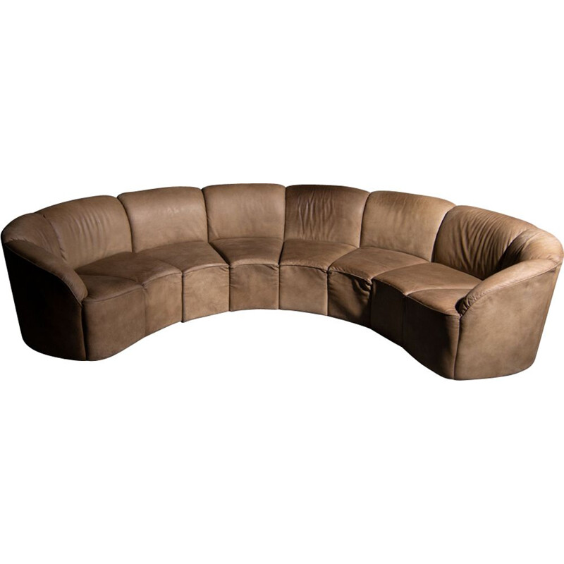Piccolino sofa in brown leather by Walter Knoll