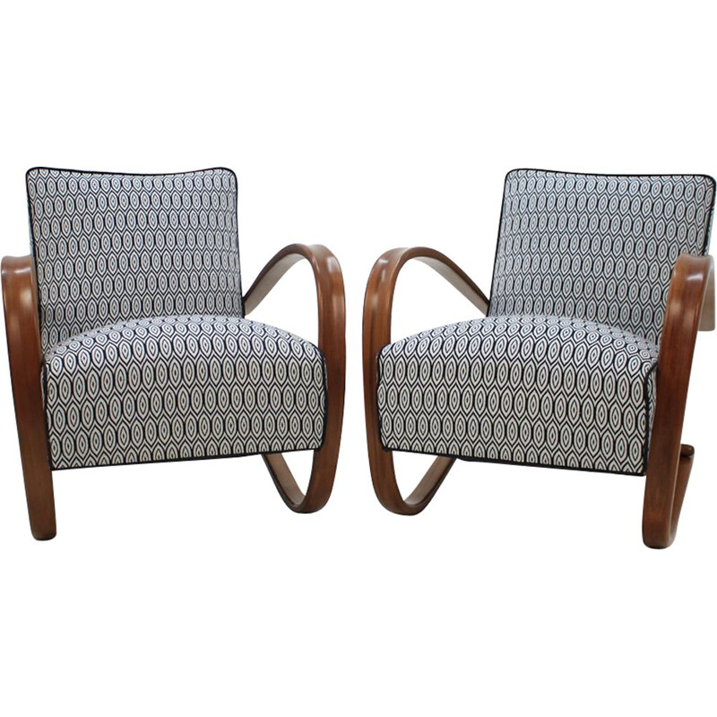 Pair of vintage wooden armchairs by Jindrich Halabala