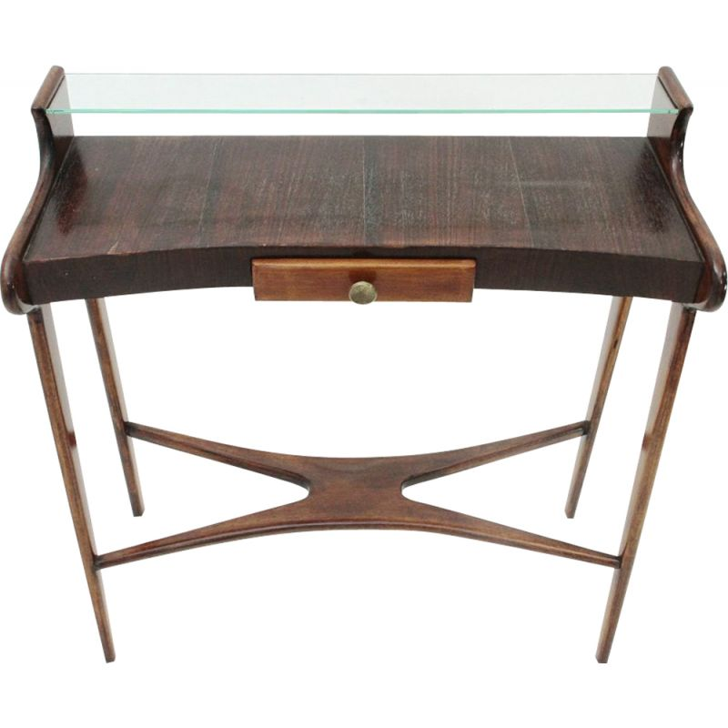 Vintage Italian console with glass shelf