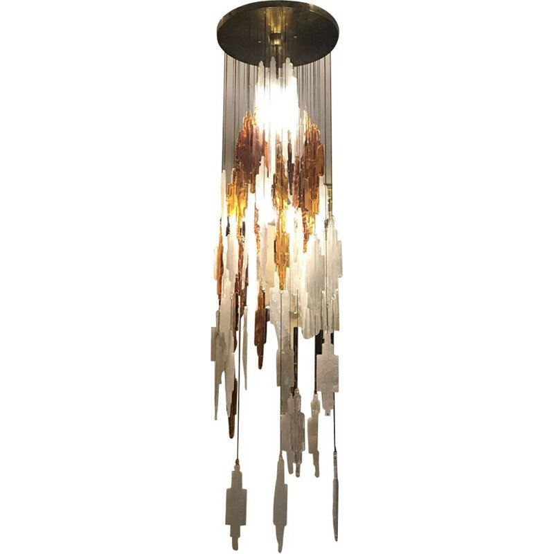 Vintage hanging lamp by Albano Poli for Poliarte