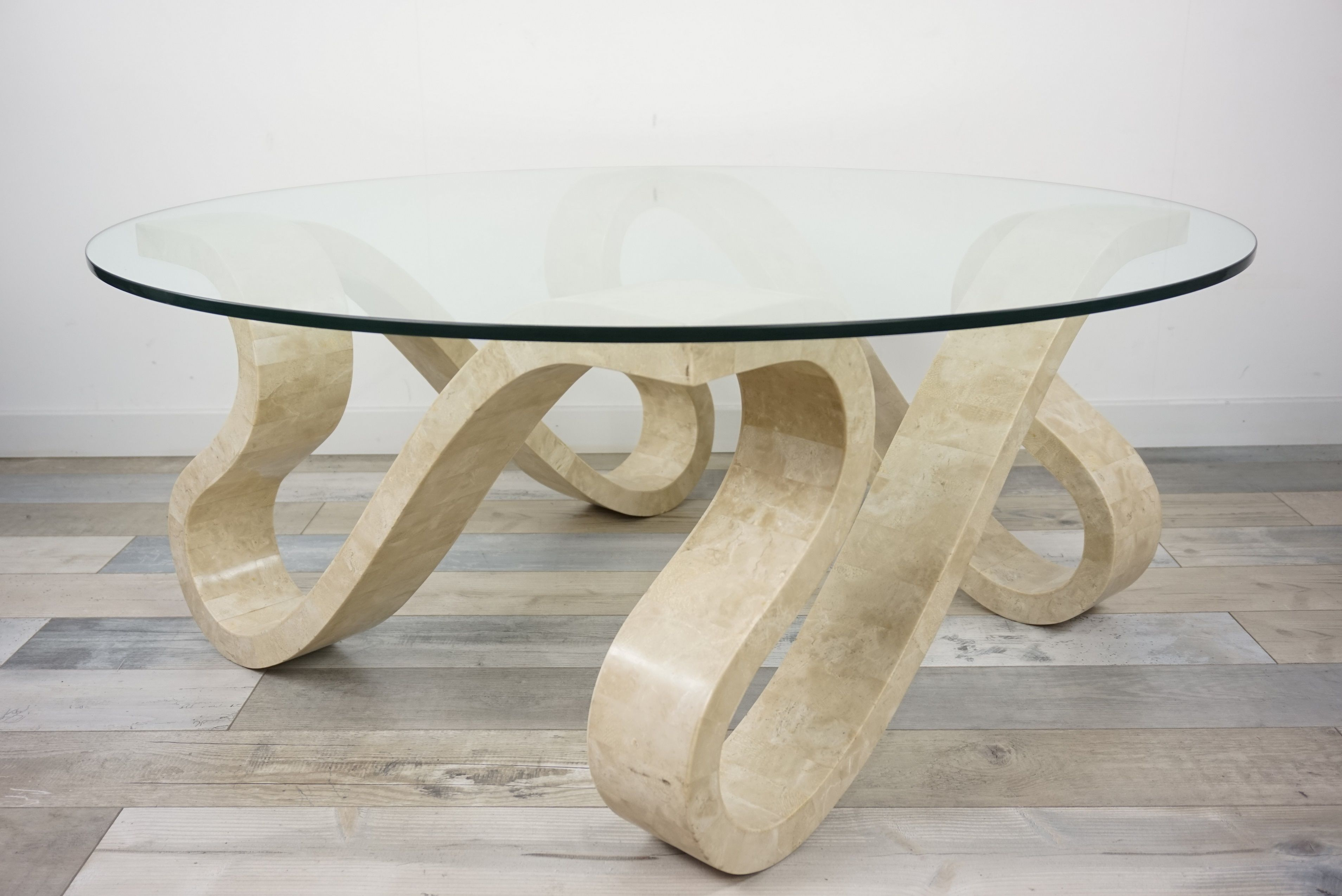 Vintage Coffee Table Ribbon In Stone And Glass Design Market