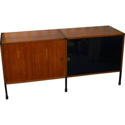Small sideboard in wood, glass and metal, ARP - 1960s