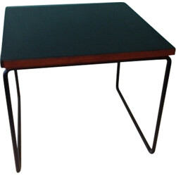 Black coffee table in melamine and metal, Pierre GUARICHE - 1950s